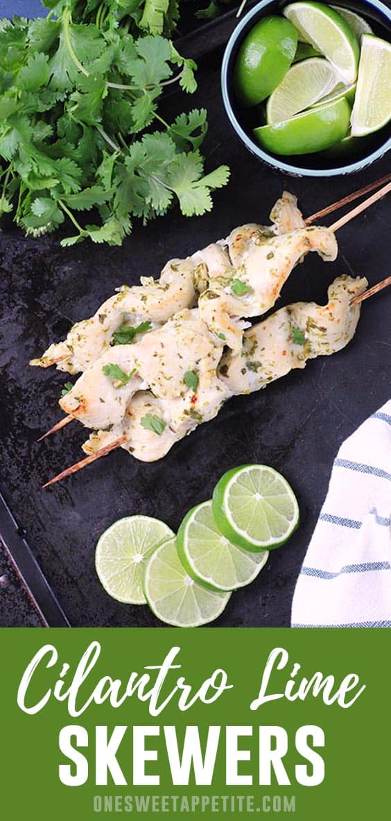 Inspired by the classic street cart food, this cilantro lime skewers recipe is a delicious way to grill chicken! Made with fresh lime juice, cilantro, and a touch of honey for a family approved dinner recipe.