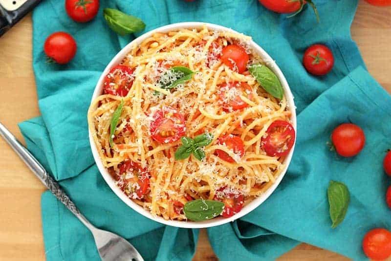Fresh tomato pasta with basil