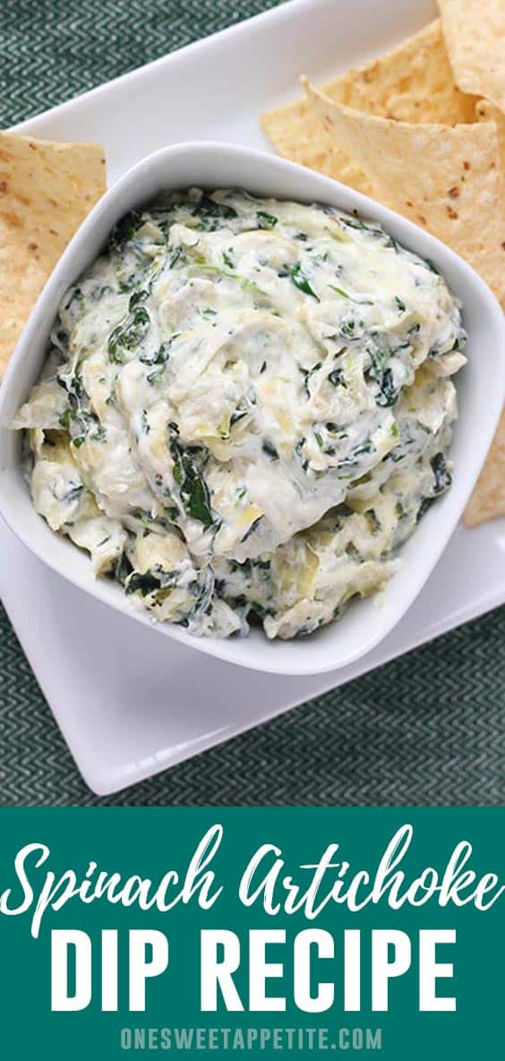 The BEST Spinach Artichoke Dip Recipe! This delicious dip has 1 can of chopped artichoke hearts, spinach, and 4 different cheeses! Kid and husband approved and the perfect appetizer recipe!