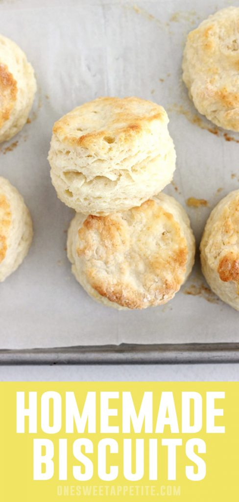 These Easy Homemade Biscuits are filled with layers of buttery goodness. Made with only 5 ingredients; flour, baking powder, salt, butter, and buttermilk! The perfect addition to any meal.