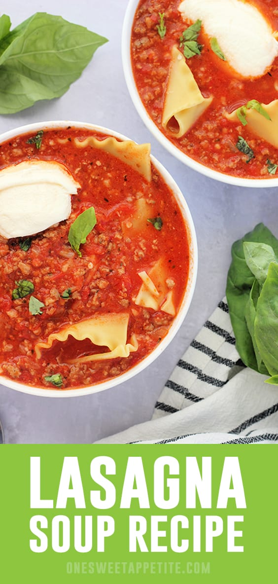 This one pot Lasagna Soup Recipe has the flavor of lasagna and comes together in minutes! Hearty, filling, and the perfect easy dinner recipe!