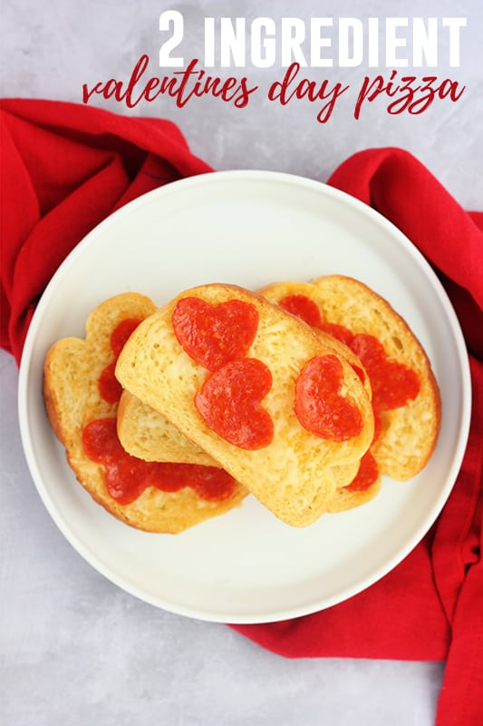 2 Ingredient Valentines Day Pizza - An easy after school snack to show some love. It is the perfect kid snack recipe!