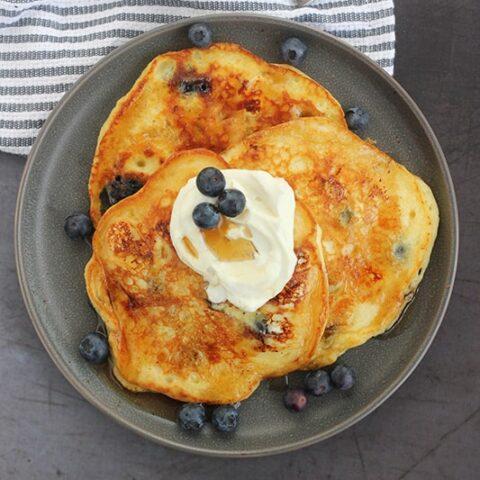Blueberry Cream Cheese Pancakes