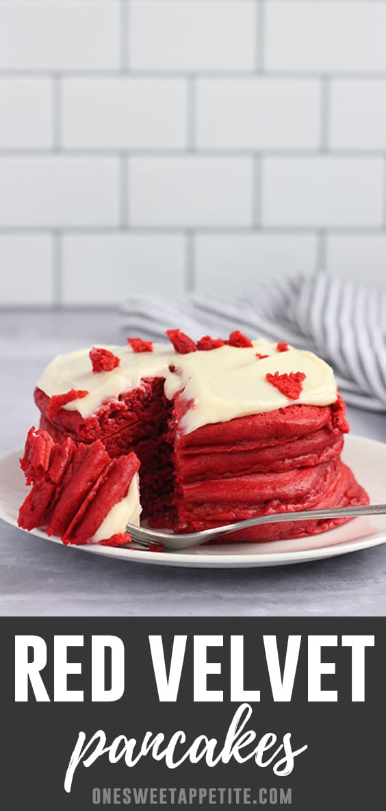 Learn how to make Red Velvet Pancakes for an extra special morning treat! These fluffy pancakes are topped with a tangy cream cheese frosting!