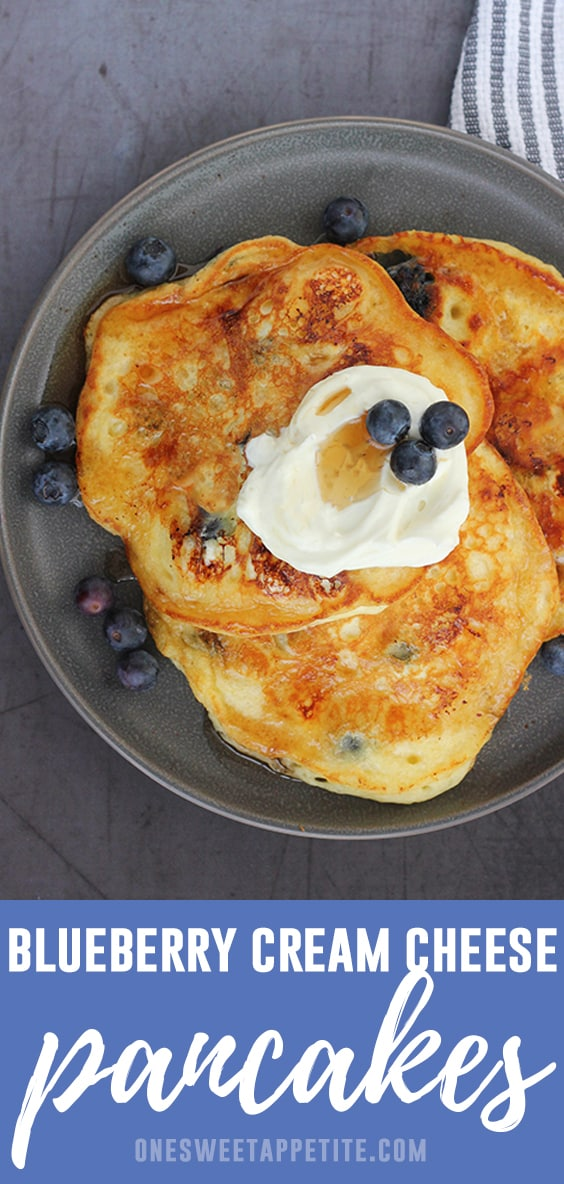Start your day with the most incredible Blueberry Cream Cheese Pancakes! These pancakes are super fluffy and soft and made with buttermilk, fresh blueberries, and cream cheese!