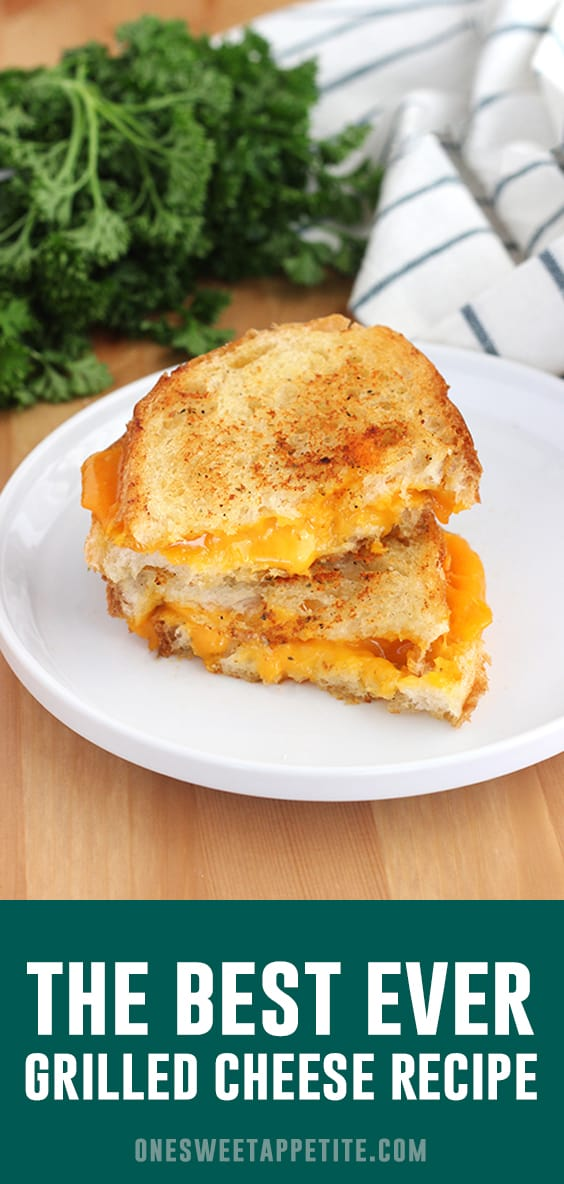 The BEST Grilled Cheese Recipe - and only one you will want to make again! French bread, garlic butter, and medium cheddar gives you the perfect melted cheese sandwich!