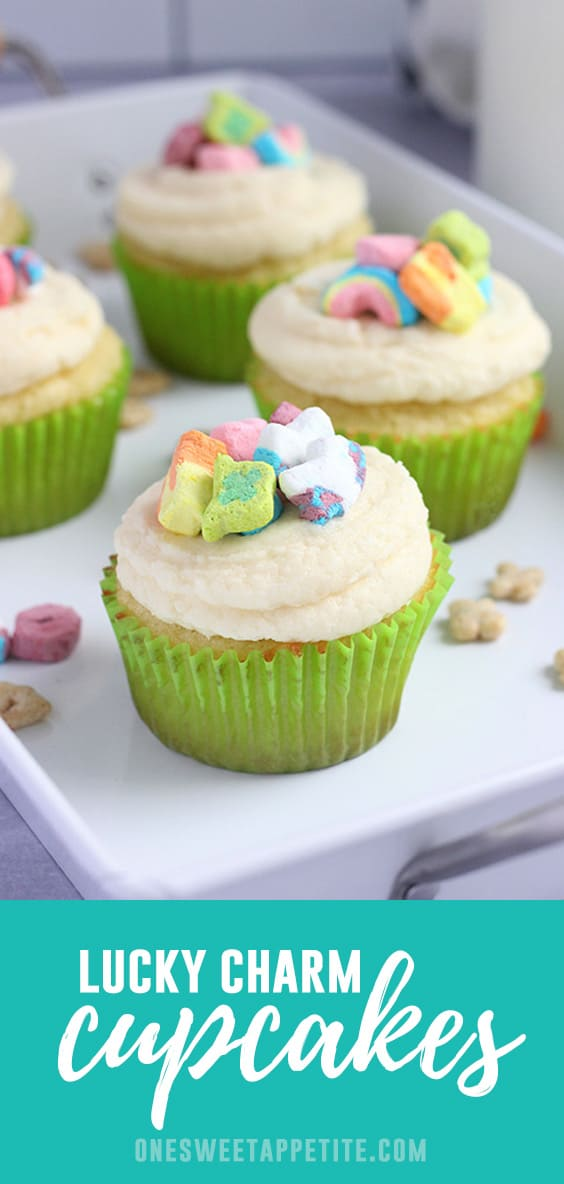Celebrate St. Patrick's day, or any day, with these festive Lucky Charm Cupcakes! The moist cake uses cereal milk to capture the flavor and is topped with the iconic charm marshmallows!