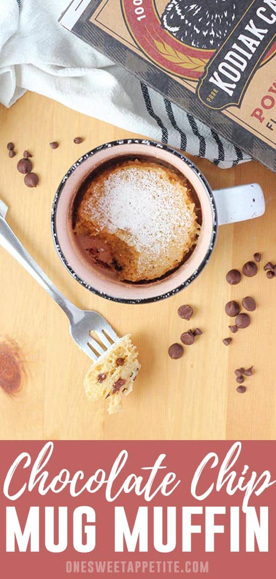 Start your day or satisfy your sweet tooth with this incredibly delicious Chocolate Chip Mug Muffin! Loaded with protein thanks to the addition of Kodiak Cakes Mix!
