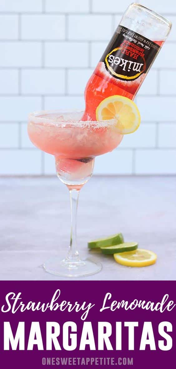 These simple Strawberry Lemonade Margarita's are made with just THREE simple ingredients and are the perfect cocktail recipe!
