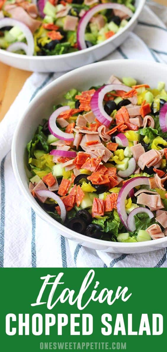 Our favorite Italian Chopped Salad recipe is loaded with ingredients and the star of the meal! Made with fresh romaine lettuce, deli chopped pepperoni, and so many more tasty ingredients!