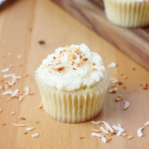 Homemade Coconut Cupcakes with Coconut Buttercream