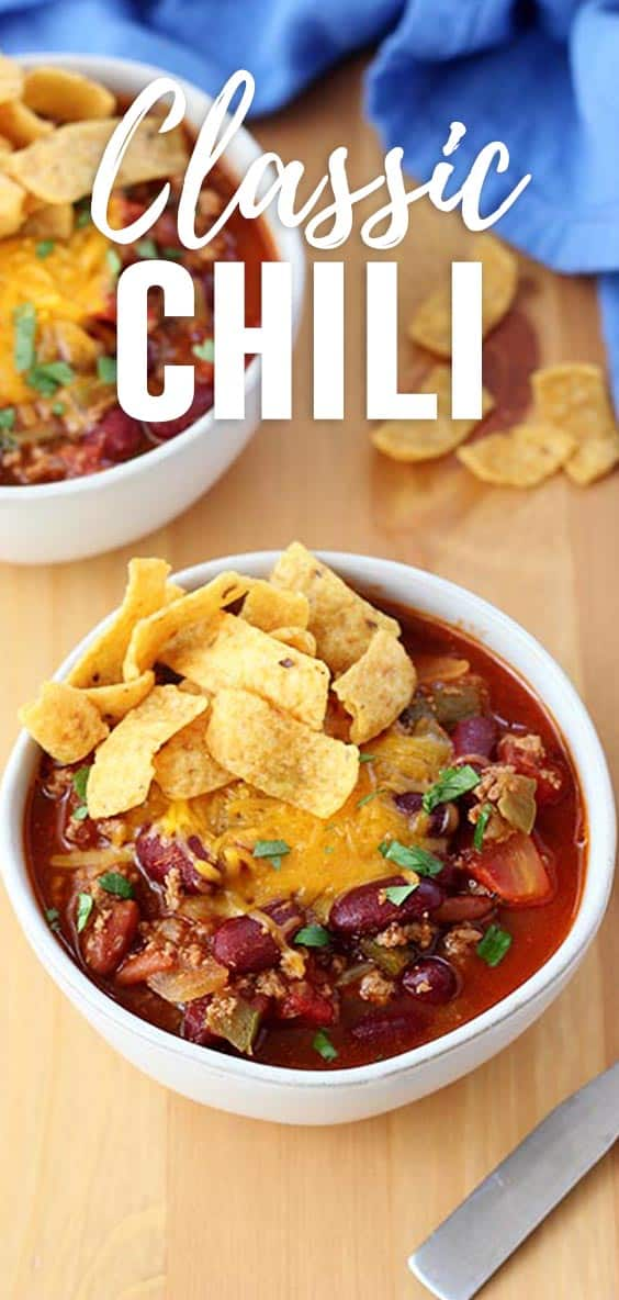 This hearty and comforting classic chili recipe is made with ground beef, diced tomatoes and beans. It is the perfect easy weeknight dinner recipe.