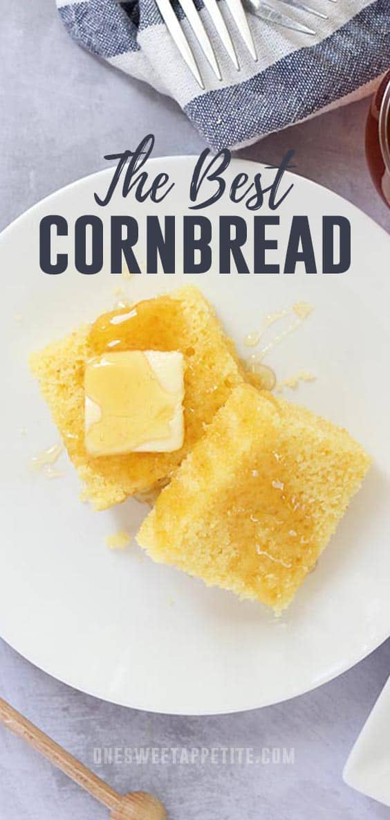 This is the very best cornbread and super simple to make! Better than a box mix and no mixer required!