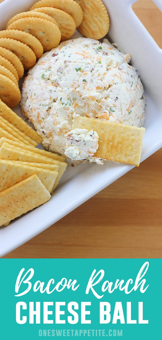 This is the BEST Cheese Ball Recipe! Cream cheese, cheddar, bacon, and ranch dressing combine giving you a delicious and easy holiday appetizer!