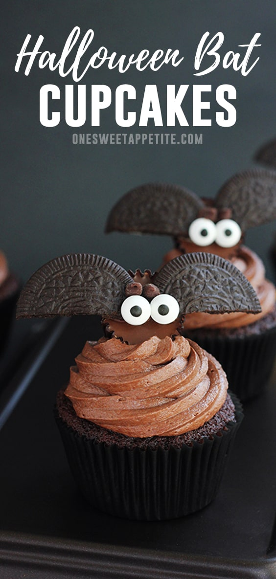 These easy Halloween Bat Cupcakes start with a rich chocolate cupcake and fudge frosting and are topped with homemade Reese's candy bats! Easy to make and adorably delicious.