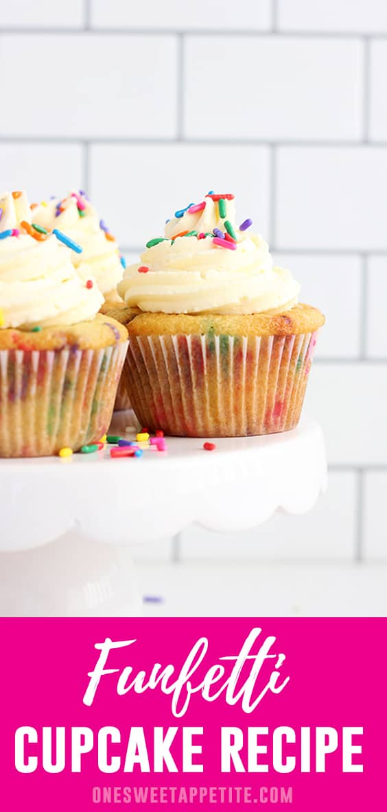 This recipe for easy homemade funfetti cupcakes is a keeper! Made from scratch and better than a box mix! All you need are a few simple ingredients and in minutes you have soft, light, and fluffy cupcakes ready to eat!