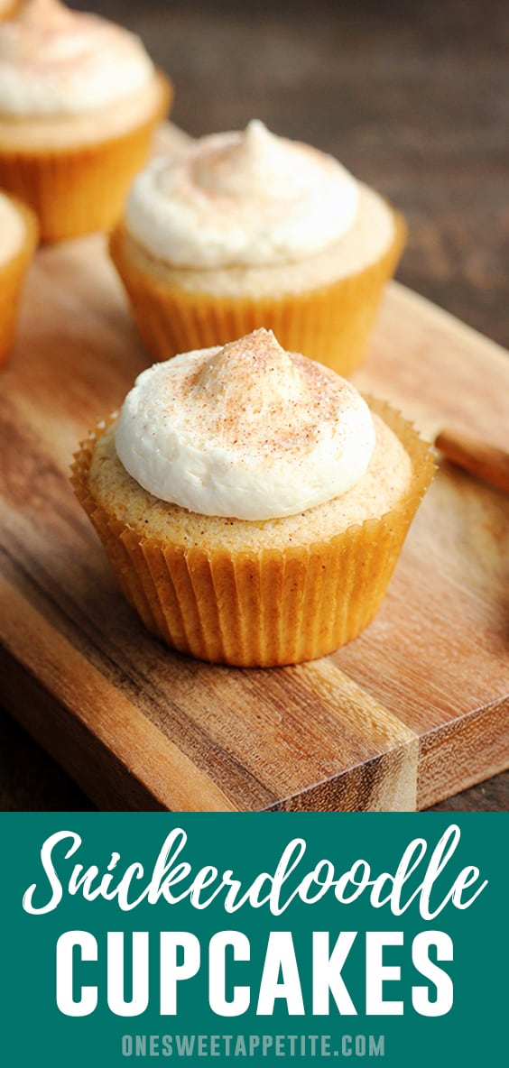 The classic cookie flavor of cinnamon and sugar turned into cupcake form with this Snickerdoodle Cupcake Recipe!