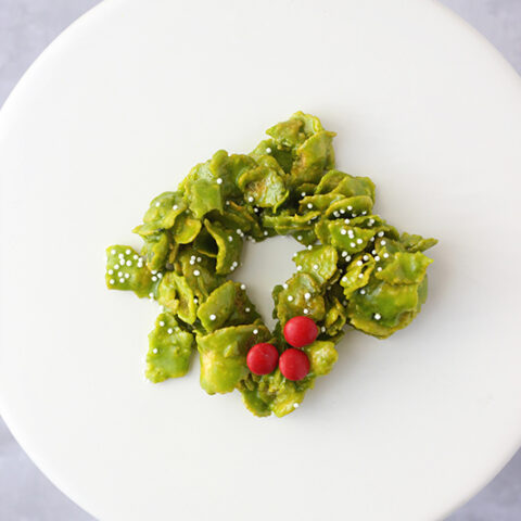 Christmas Wreath Cookies- Made with Cornflakes!
