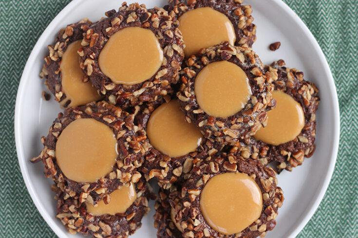 Caramel Pecan Thumbprint Cookies