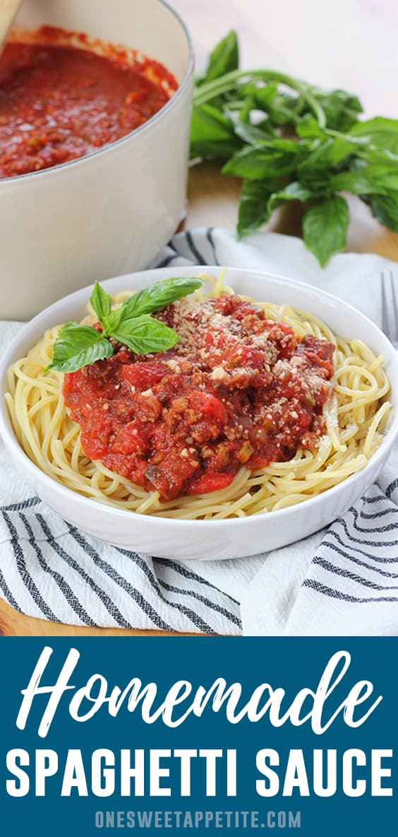 This is the absolute BEST spaghetti with meat sauce! So easy to make and the perfect weeknight dinner recipe. Did I mention it is also freezer friendly?