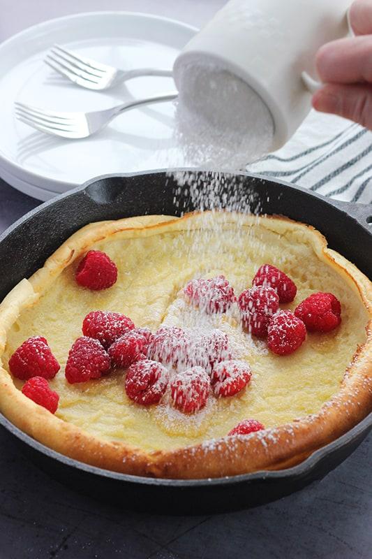 Dutch baby pancake with fresh fruit