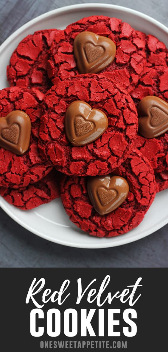 These easy red velvet valentine cookies are made with just 5 simple ingredients! The secret? Cake mix! In under 20 minutes you can have beautiful red velvet cookies topped with chocolate hearts.