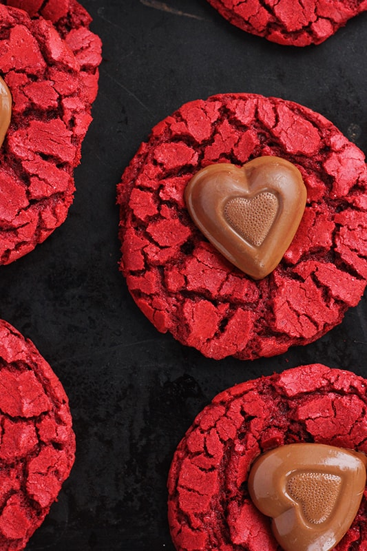 Red Velvet Cookies with Chocolate Hearts