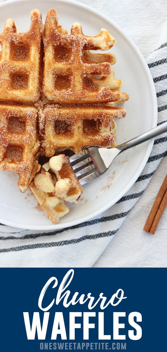 These crisp and fluffy churro waffles are a fun twist on the classic breakfast recipe! Fresh warm waffles are brushed with butter and dusted with cinnamon and sugar.