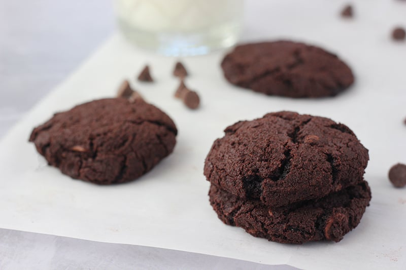 chocolate cookies on parchment paper