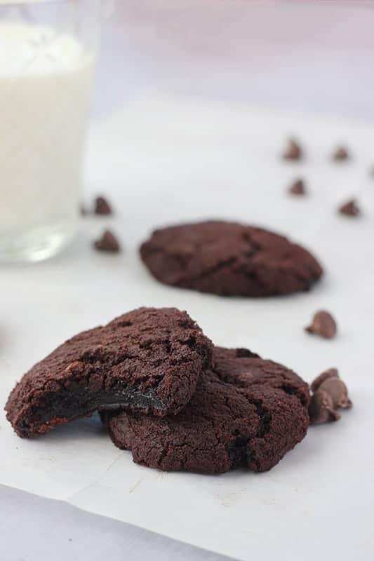 fudge cookies on parchment paper