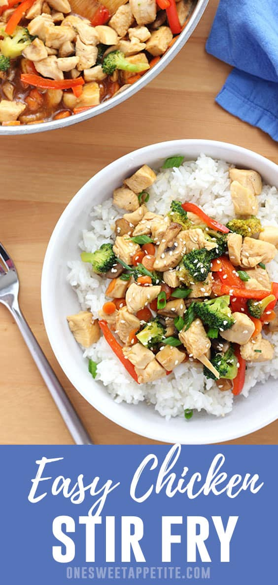 This super simple Chicken Stir Fry is the perfect one pot meal! Everything comes together quickly and it is packed with veggies! A great and delicious add to your weeknight menu.
