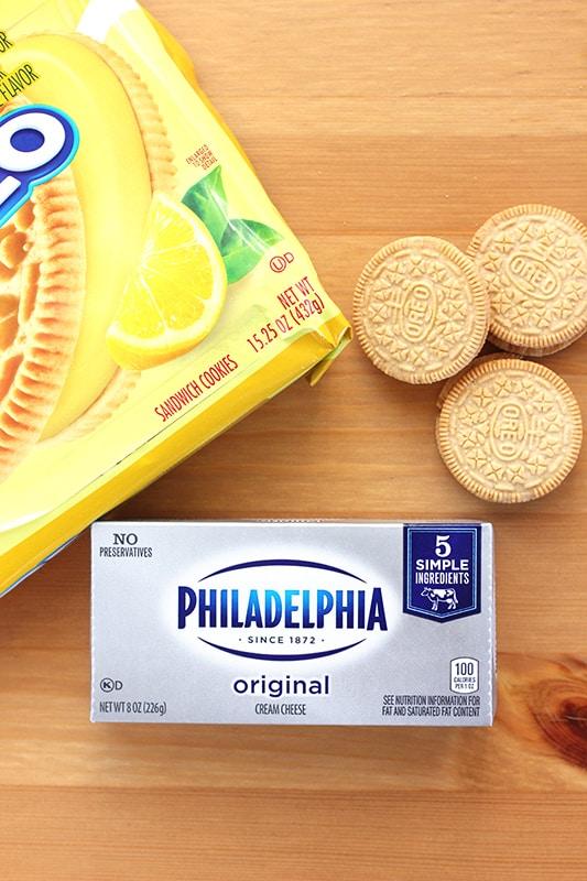 Lemon Oreo Cookies and Cream Cheese
