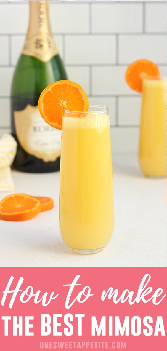 This classic mimosa recipe is a simple bubbly cocktail that is perfect to serve with breakfast or brunch! Read on for my best tips and recipe variations!