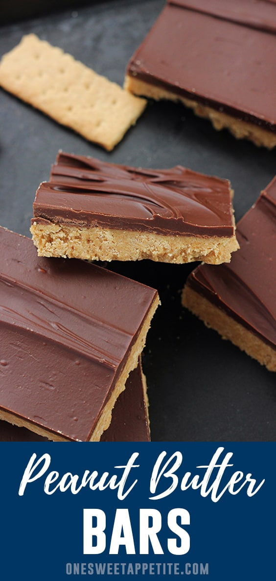 These easy peanut butter bars combine a sweet peanut butter crust with a thin layer of chocolate! Only 5 ingredients and ready in under 10 minutes!
