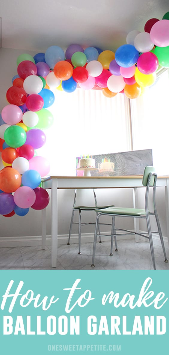 This easy balloon garland takes an hour to make and is an amazing addition to any celebration! All you need is balloons, fishing line, and a needle!