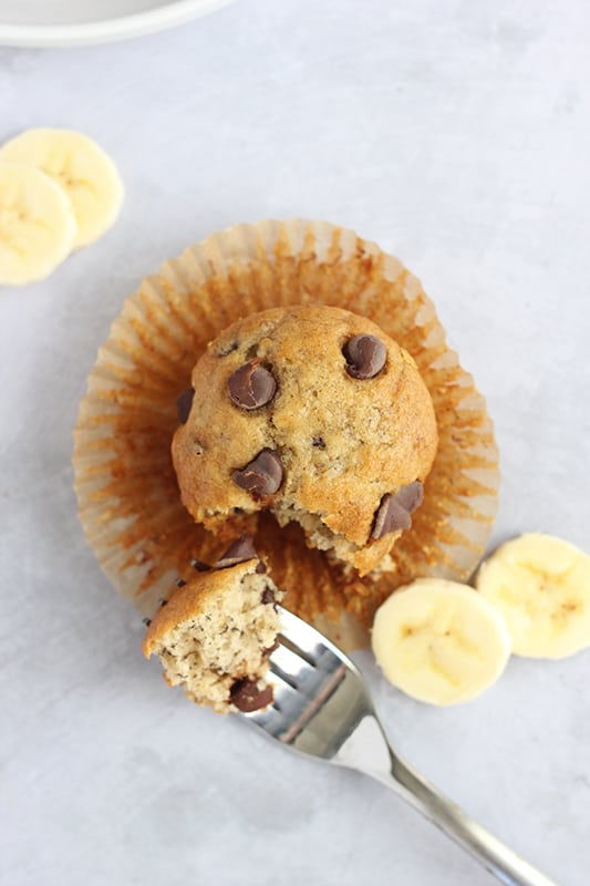 Banana Bread Muffins with Chocolate Chips