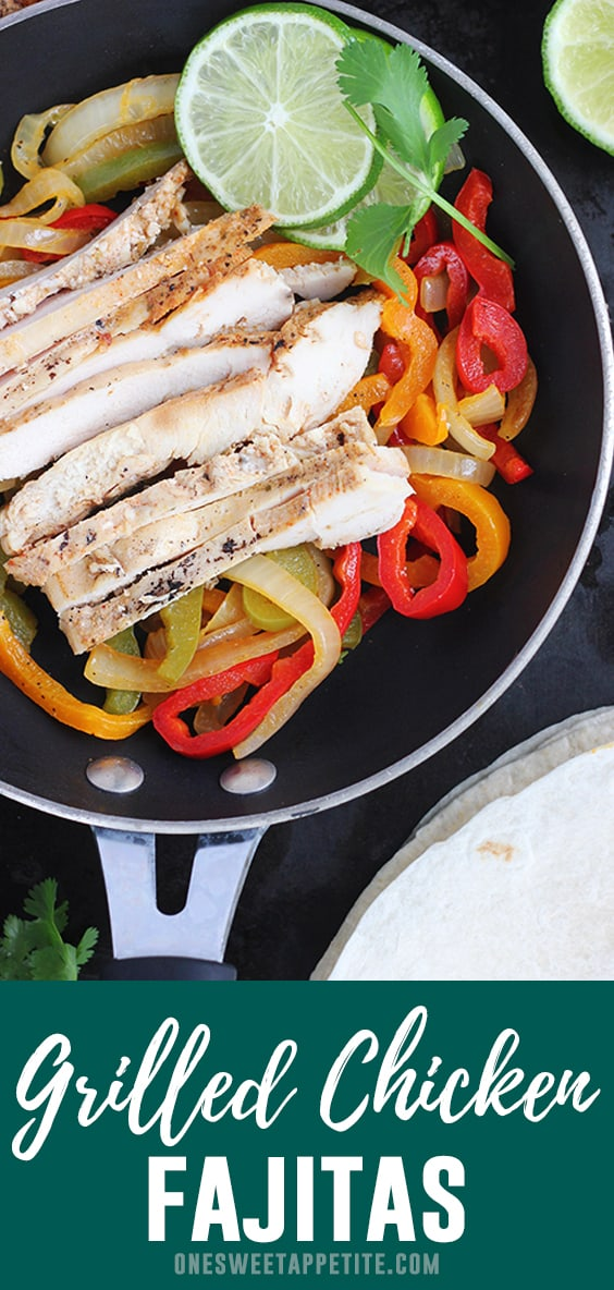 These are the best grilled chicken fajitas. The chicken is marinated for four hours and grilled to perfection. Served with soft cooked veggies and warm tortillas for the perfect dinner recipe!