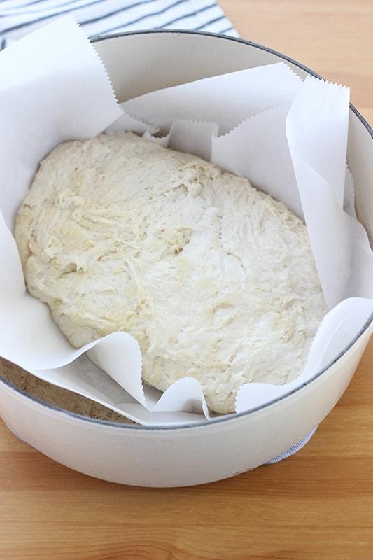 Bread dough in pan