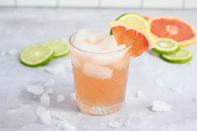 Paloma Cocktail with grapefruit and lime slice