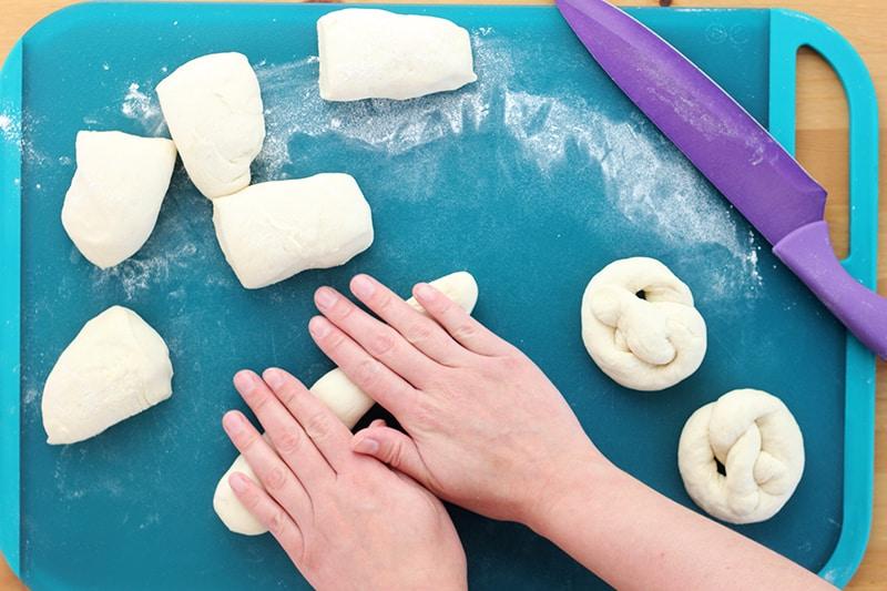Rolling pretzel dough