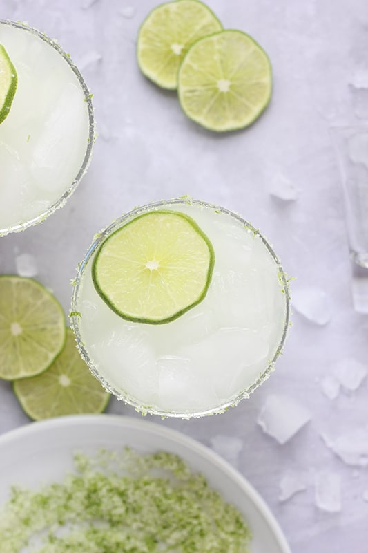 margarita with lime and rim salt