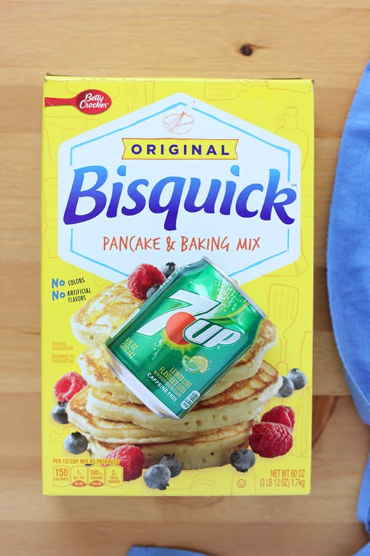Bisquick with can of 7up on table