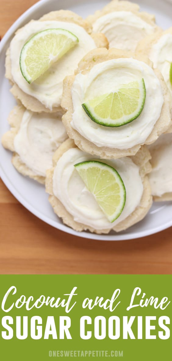 Coconut Lime Frosted Sugar Cookies- This soft and chewy cookie has a hint of coconut and lime flavor and is topped with a sweet coconut lime frosting. Perfect for summer!