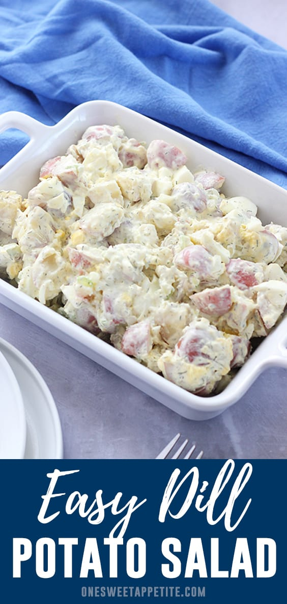 This creamy dill potato salad is the perfect summer side dish. Made with red potatoes, Dijon mustard, and dill- You'll have people begging for the recipe!