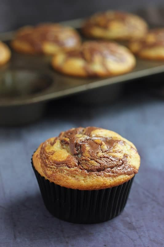Nutella Muffin on black background