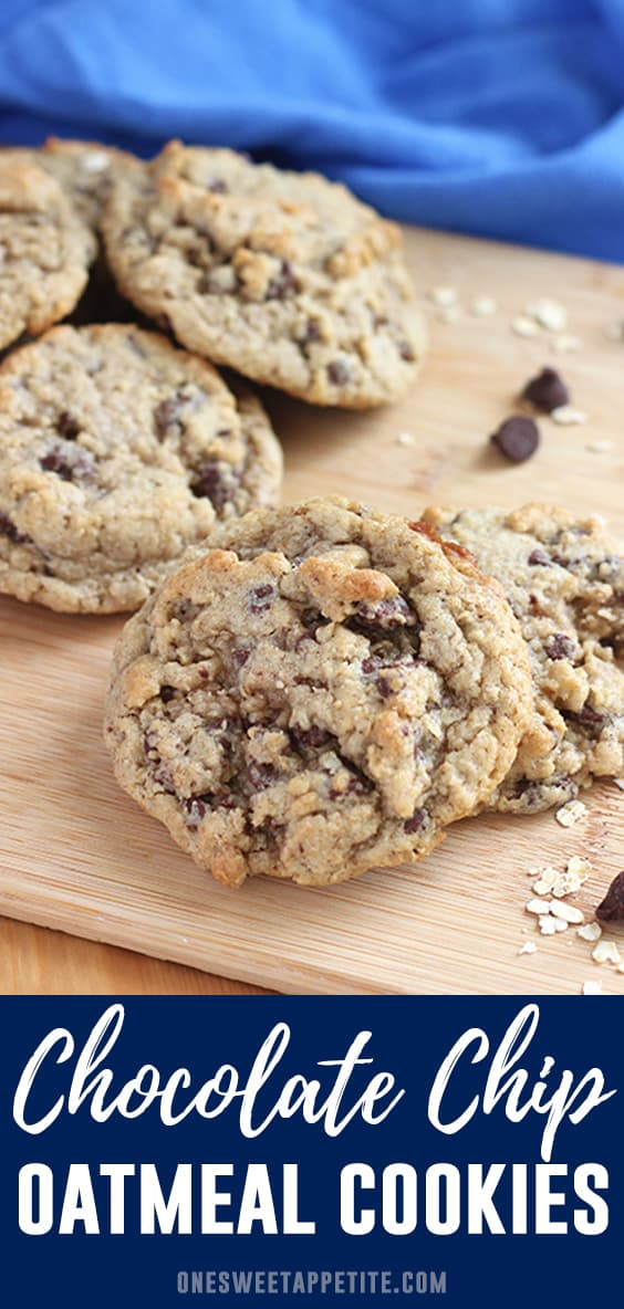This is the very best Oatmeal Chocolate Chip Cookie Recipe! Made with brown sugar for a slight molasses flavor and an entire cup of semi-sweet chocolate chips.