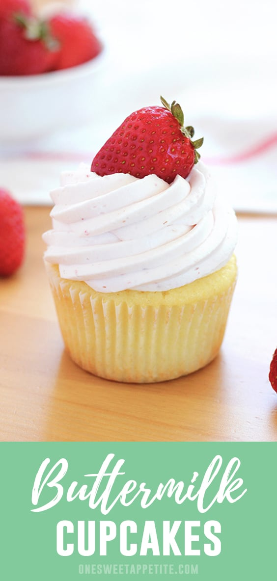 These delicious buttermilk cupcakes are filled with vanilla flavor and a slight tang. Perfect to serve with any frosting and a family favorite!