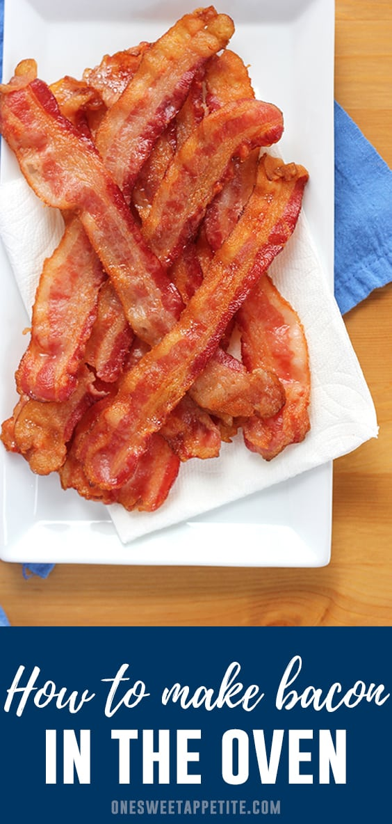 How to make bacon in the oven- This recipe is SO easy and produces perfectly crisp bacon every time. Prep work is minimal and the use of foil makes clean up a breeze!