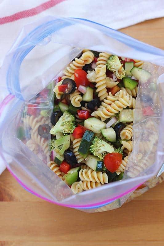 pasta salad in zip top bag