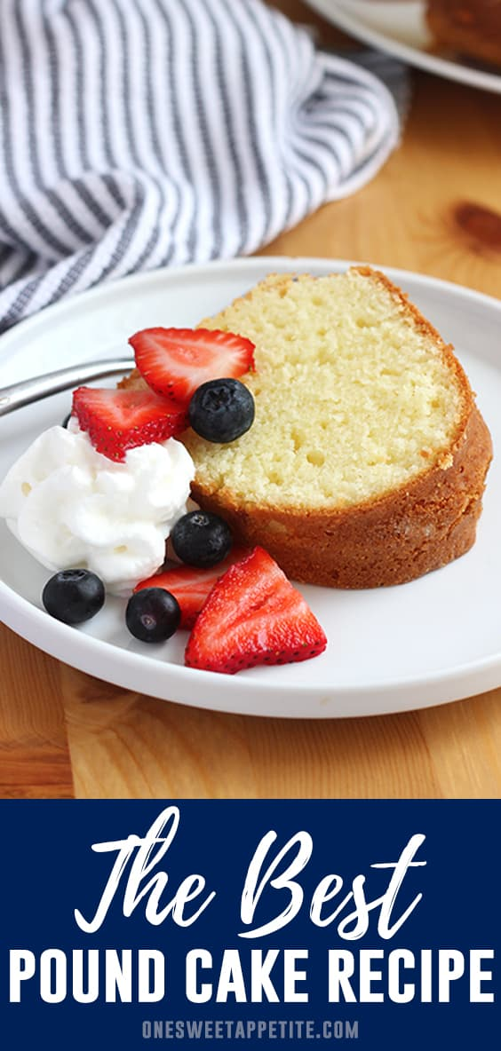 This is the very best pound cake recipe. Comes together quickly and has a secret ingredient that leaves it moist and the perfect crumb! Great when served with whipped cream and fresh berries!